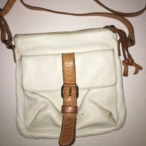 White leather Side saddle purse Roots